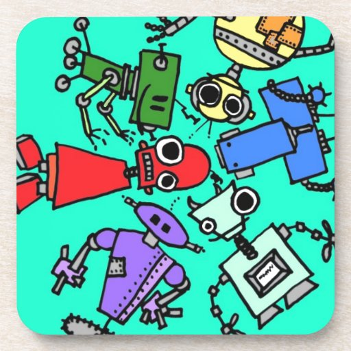 Group of robots 6 drink coasters