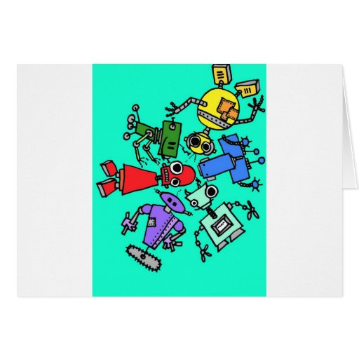 Group of robots 6 greeting cards