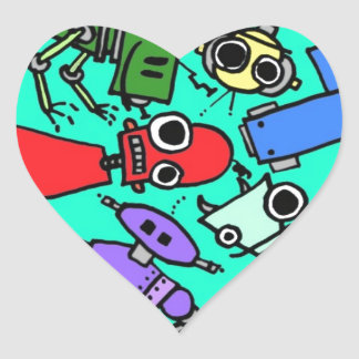Group of robots 6 heart sticker
