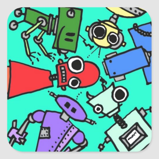Group of robots 6 square sticker