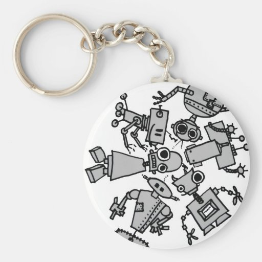 Group of robots keychains