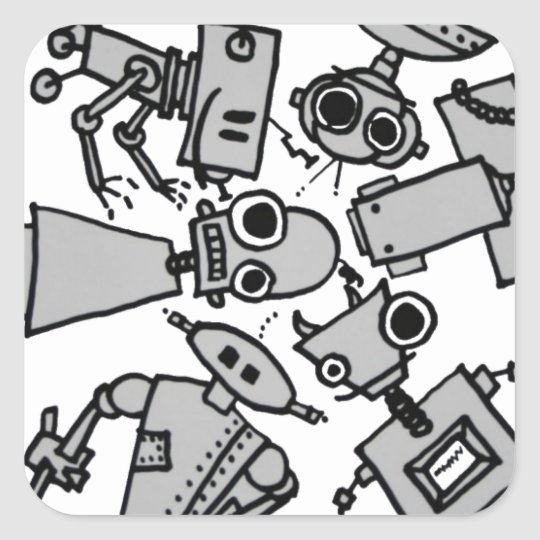 Group of robots square sticker