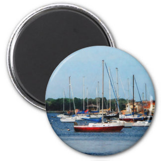Group of Sailboats Newport RI 2 Inch Round Magnet