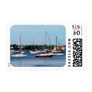Group of Sailboats Newport RI Postage
