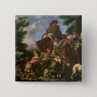 Group of shepherds with a horse pinback button