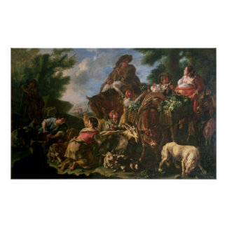 Group of shepherds with a horse poster