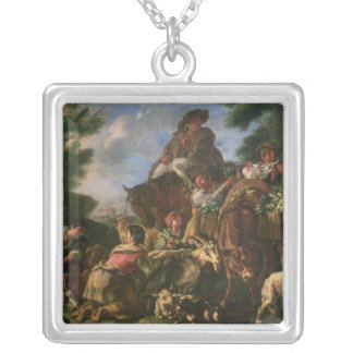 Group of shepherds with a horse silver plated necklace
