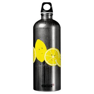 Group of smiling lemon characters aluminum water bottle
