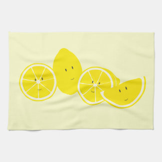 Group of smiling lemon characters towel