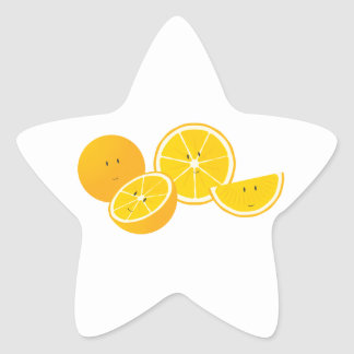 Group of smiling oranges star sticker