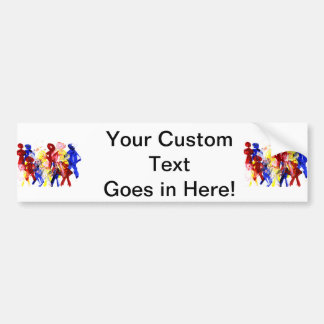 Group of standing stick figures finger painting re bumper sticker