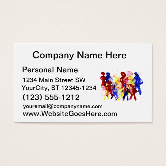 Group of standing stick figures finger painting re business card