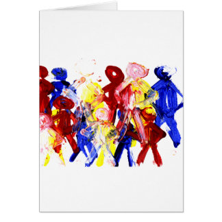 Group of standing stick figures finger painting re card