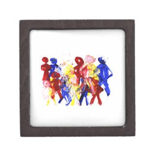 Group of standing stick figures finger painting re jewelry box