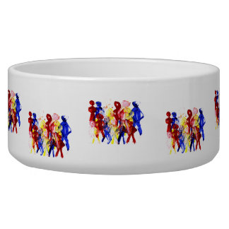 Group of standing stick figures finger painting re dog bowl