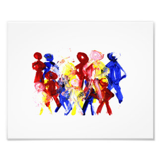 Group of standing stick figures finger painting re photo print