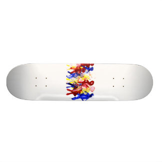 Group of standing stick figures finger painting re skateboard deck