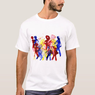Group of standing stick figures finger painting re T-Shirt
