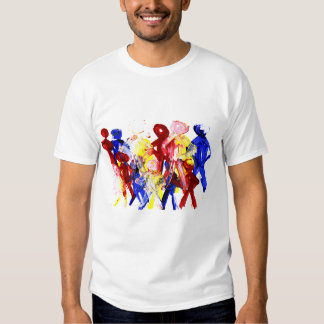 Group of standing stick figures finger painting re tee shirt