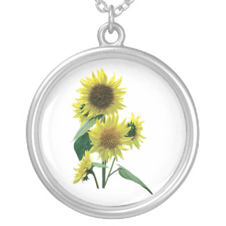 Group of Sunflowers Round Pendant Necklace