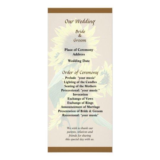 Group of Sunflowers Wedding Program