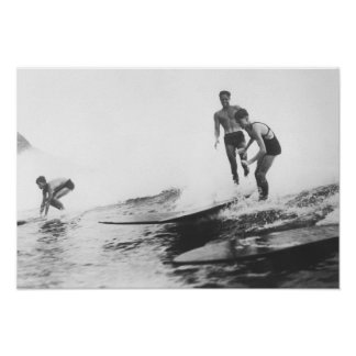 Group of Surfers in Honolulu, Hawaii Surfing Poster