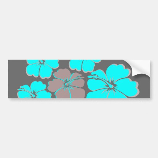 Group of Teal Hibiscus Car Bumper Sticker