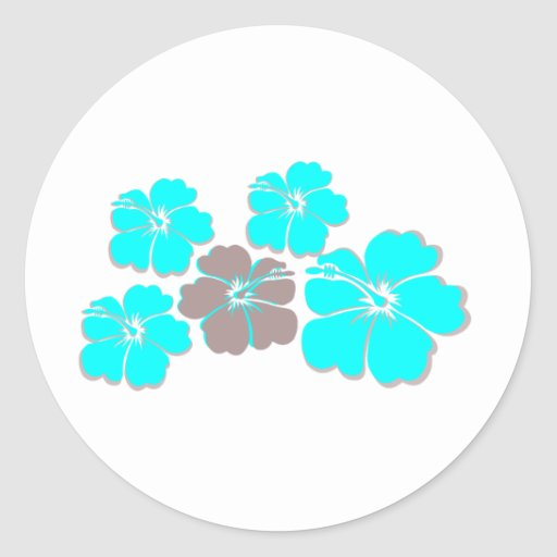 Group of Teal Hibiscus Round Stickers