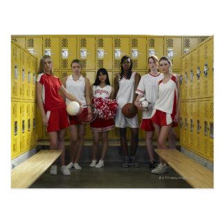 Group of teenage girls (15-17) standing in postcard