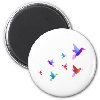 Group of various Origami hummingbirds 2 Inch Round Magnet