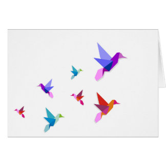 Group of various Origami hummingbirds Greeting Card
