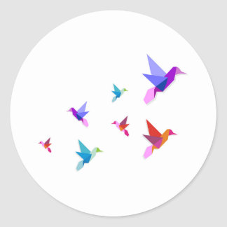 Group of various Origami hummingbirds Classic Round Sticker