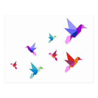 Group of various Origami hummingbirds Postcard