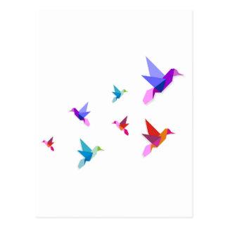 Group of various Origami hummingbirds Postcard
