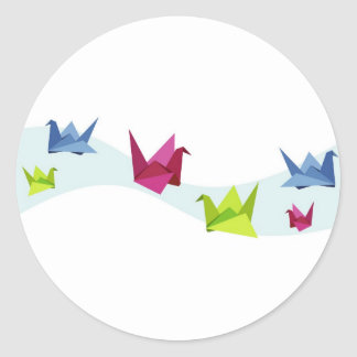 Group of various Origami swan Classic Round Sticker