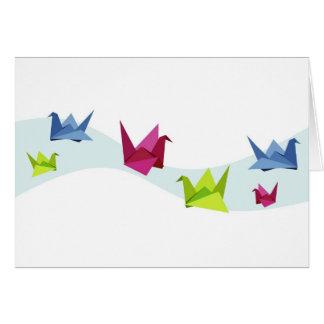 Group of various Origami swan Greeting Card