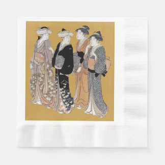 Group of Vintage Japanese Geisha Women Coined Luncheon Napkin