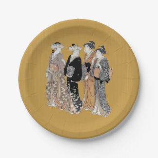 Group of Vintage Japanese Geisha Women 7 Inch Paper Plate