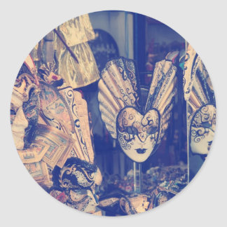Group of Vintage venetian carnival masks Classic Round Sticker