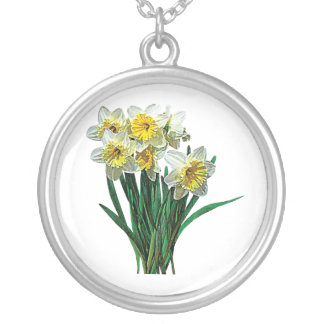 Group of White Daffodils Round Pendant Necklace