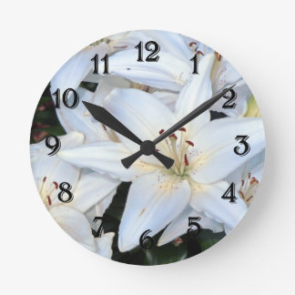 Group of White Lilies Round Clock