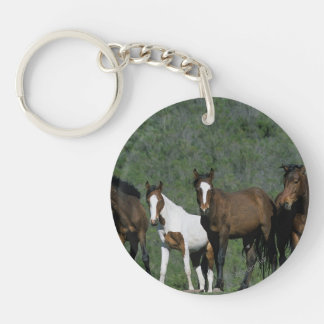 Group of Wild Mustang Horses Keychain