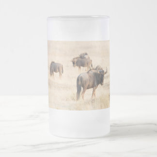 Group of wildebeest frosted glass beer mug
