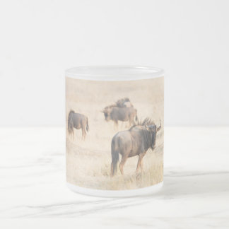 Group of wildebeest frosted glass coffee mug
