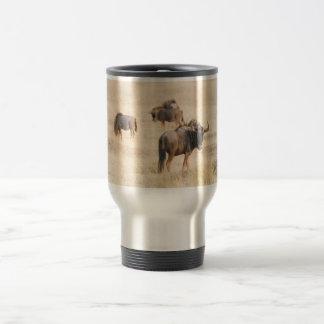 Group of wildebeest travel mug