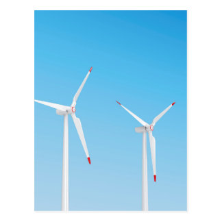 Group of wind turbines postcard