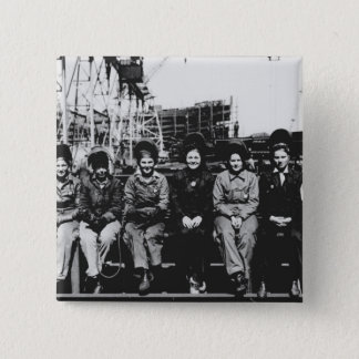 Group of Women Welders During World War Two Pinback Button