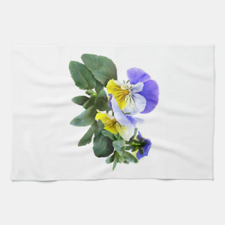 Group Of Yellow And Purple Pansies Kitchen Towel