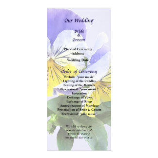 Group of Yellow and Purple Pansies Wedding Program