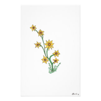 group of yellow flowers stationery